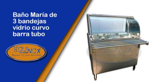 Equinox-Baño María de 3 bandejas vidrio curvo barra tubo-A