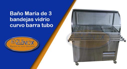 Equinox-Baño María de 3 bandejas vidrio curvo barra tubo con ruedas-A