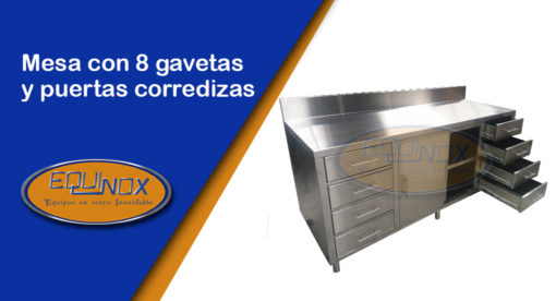 Equinox-Mesa con 8 gavetas y puertas corredizas-A