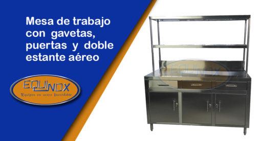 Equinox-Mesa de trabajo con gavetas, puertas y doble estante aéreo-A