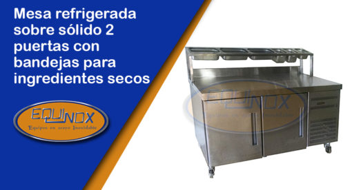 Equinox-Mesa refrigerada sobre sólido 2 puertas con bandejas para ingredientes secos-A