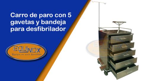 Equinox-Carro de paro con 5 gavetas y bandeja para desfibrilador-A