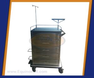 Equinox-Carro de paro con 5 gavetas y bandeja para desfibrilador-B