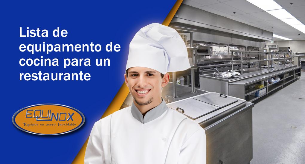 Equinox - Lista de equipamento de cocina para un restaurante-A