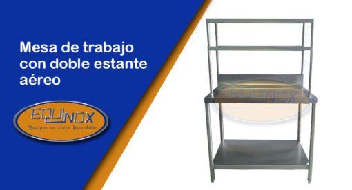 Equinox-Mesa de trabajo con doble estante aéreo-A